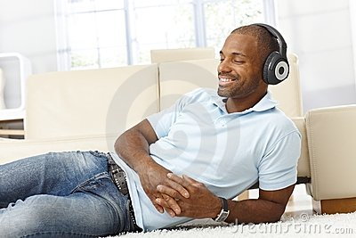 Man enjoying music on headphones