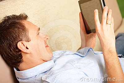 Man enjoying tablet