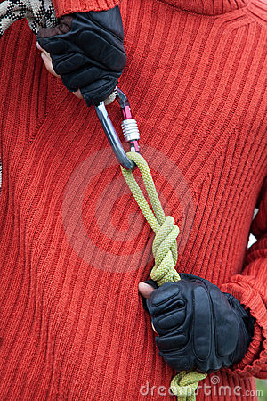 Man with equipment rope link