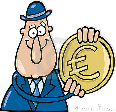 Man with euro coin