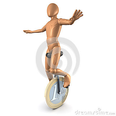 Man on euro unicycle