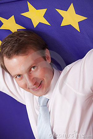 Man with european union flag