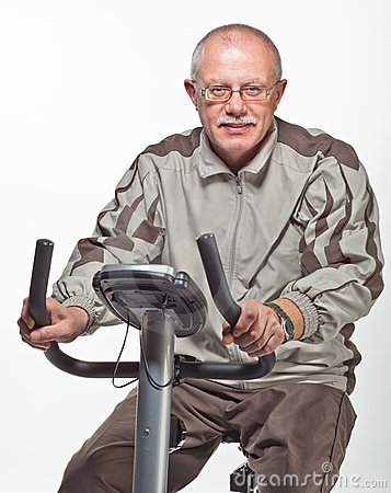 Man exercising on a bicycle trainer