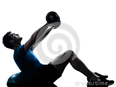 Man exercising bosu weight training workout