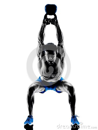 Free Man Exercising Fitness Kettle Bell Weights Royalty Free Stock Photography - 55259307