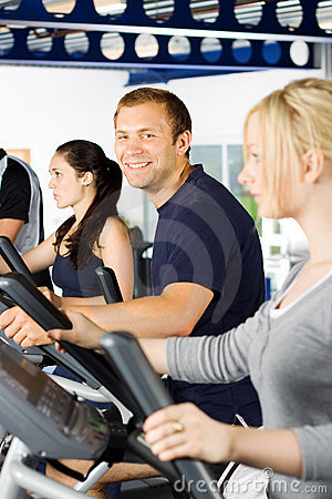 Man exercising with friends