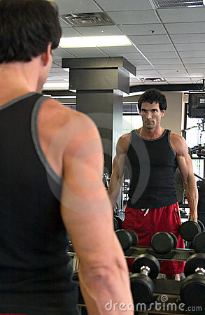 Free Man Exercising In Mirror Royalty Free Stock Images - 2464729