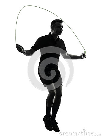 Man exercising jumping rope silhouette