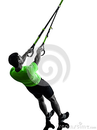 Free Man Exercising Suspension Training Trx Silhouette Stock Photography - 35356732