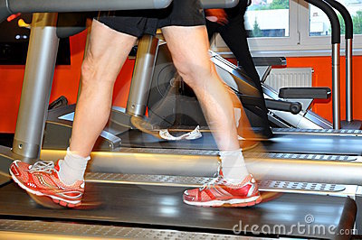 Man exercising on treadmill