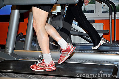 Man exercising on treadmill