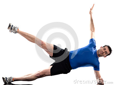 Man exercising workout fitness posture abdominals