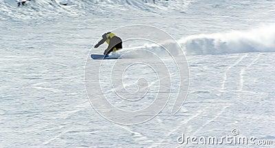 A man extreme snowboard riding
