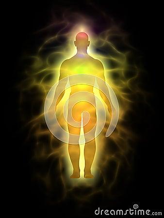 Man för aurahuvuddelenergi