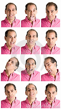 Free Man Face Expressions Composite Isolated On White Stock Photo - 14626690
