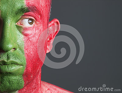 Man face flag Portugal