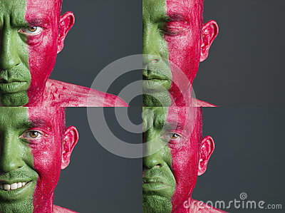 Man face flag Portugal and four expressions