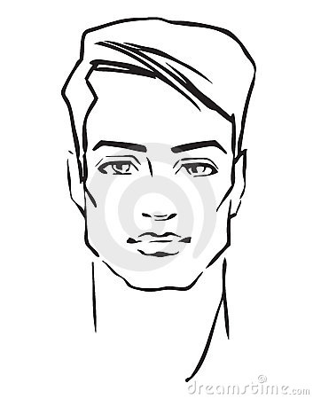 Man face. Hand-drawn fashion model