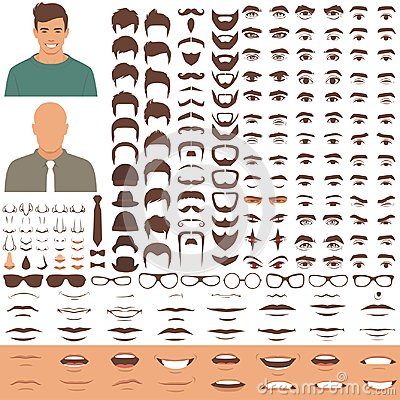 Free Man Face Parts, Character Head, Eyes, Mouth, Lips, Hair And Eyebrow Icon Set Royalty Free Stock Image - 109208916