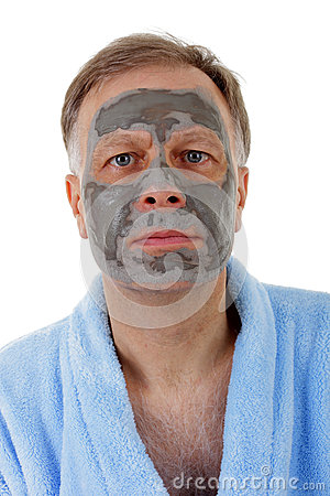 Man with facial mask.