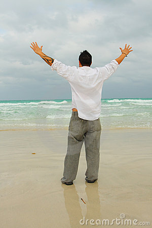 Man Facing The Ocean