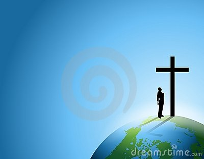 Man of Faith With Cross on Earth