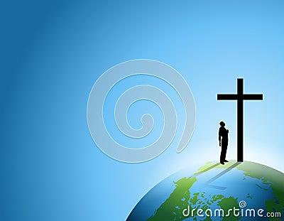 Man of Faith With Cross on Earth