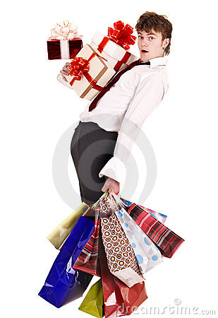Man with falling group gift box and shopping bag.