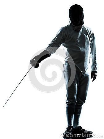 Man fencing silhouette saluting