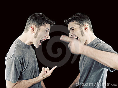 Man fighting with himself