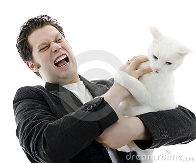 Man fighting with white cat.