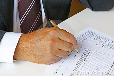 Man filling a form
