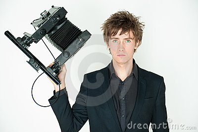 Man with film camera