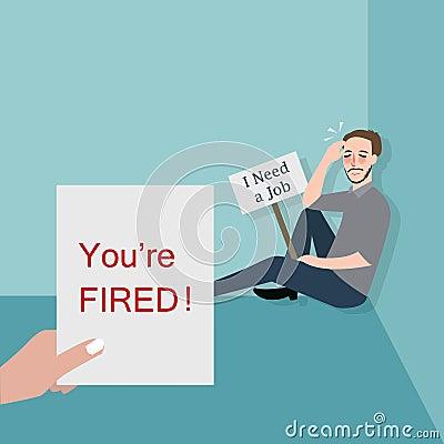 Man Fired Looking For A Job Cartoon Vector Cartoondealer Com 73669783