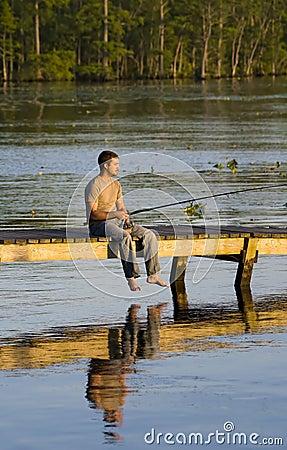 Man fishing of a dock