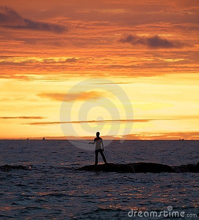 Man fishing in the ocean