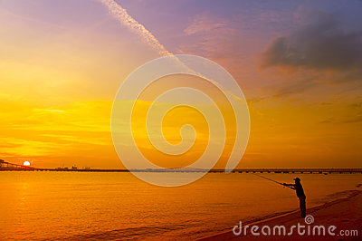 Man fishing silhouette
