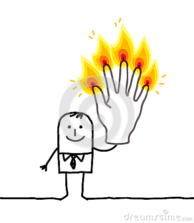 Man with five burning fingers
