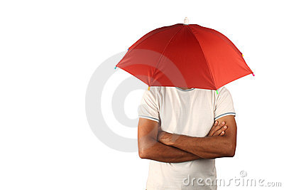 Man with fixed umbrella