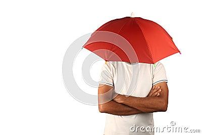 Man with fixed umbrella