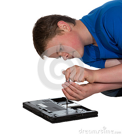 Man fixing a laptop computer
