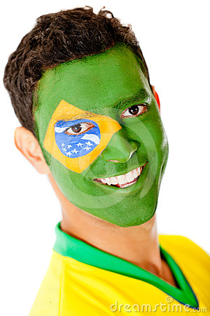 Man with flag of Brazil