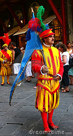 Man with flag in calcio storico Editorial Image