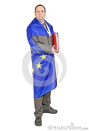 Man with the flag EU
