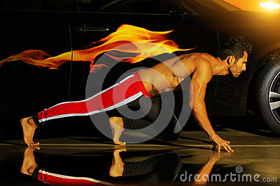 Man and flame