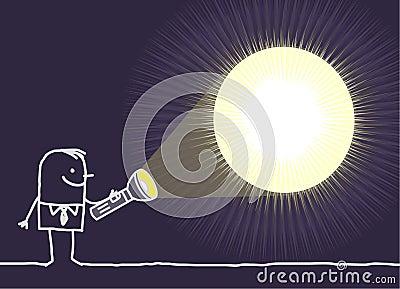 Man & flashlight