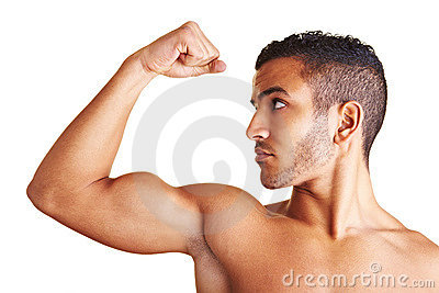 Man flexing his arm muscles
