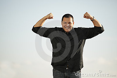 Man flexing his arms