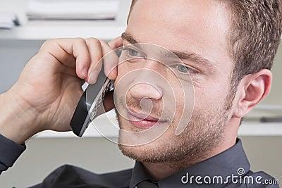 Man flirting on phone