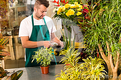 Man florist reading price barcode reader flower